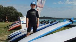 "Caleb ready for Day One of ""Surf Groms"" - kids learning to surf."