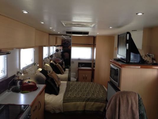 Inside the motorhome - tidy and ready for Lyn's arrival