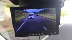 A monitor from the two rear cameras become the rear vision mirror.