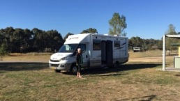 Parked at Free Camp at Merton Racecourse.